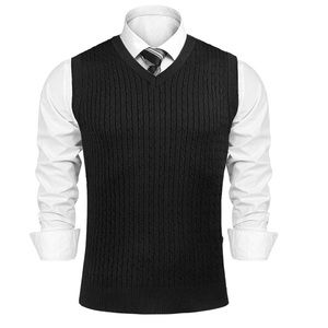 PJ PAUL JONES V-Neck Knitting Vest Classic Sweater